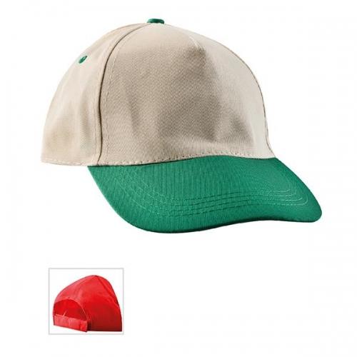 Çift Renkli Bej - Yeşil Şapka