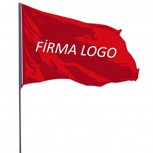 Logolu Bayrak Saten Çiftkat 70x105